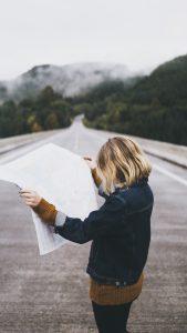 Girl holding map
