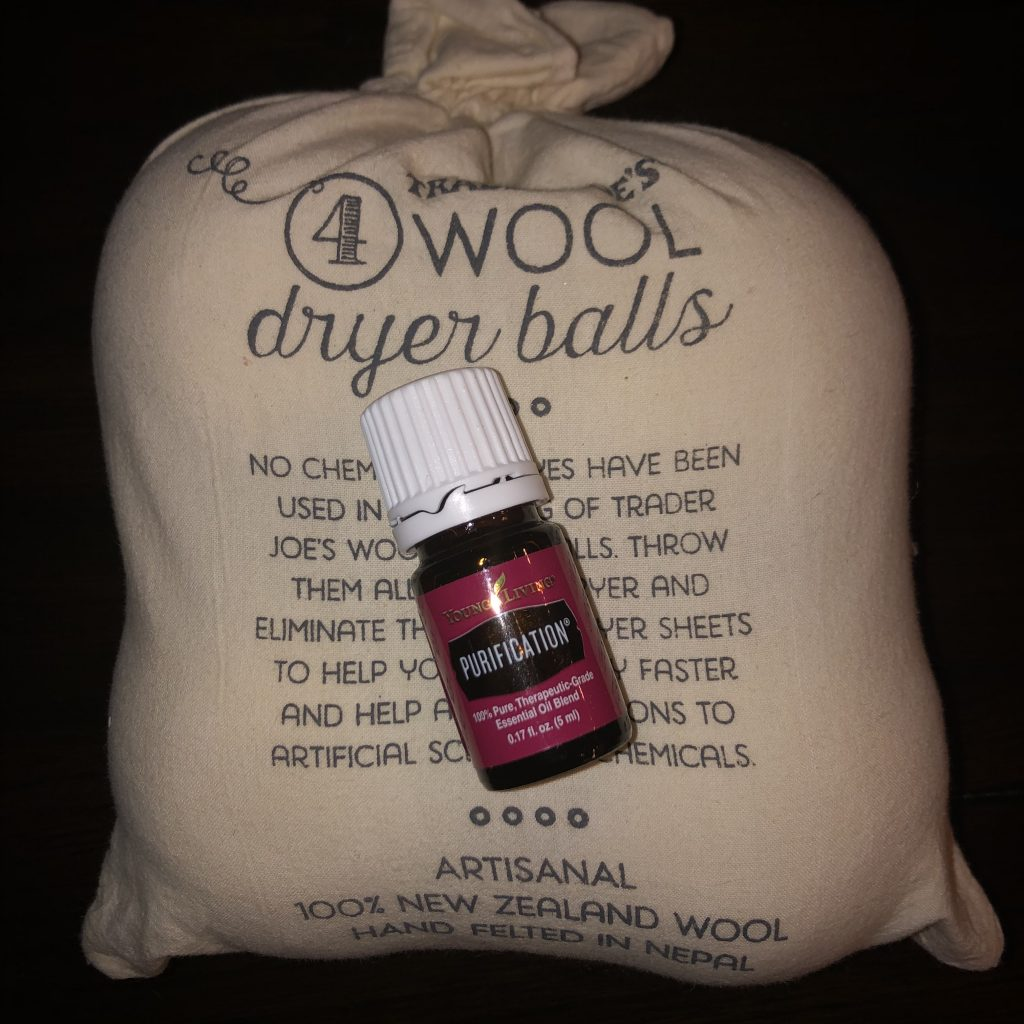 wool dryer balls and young living purification essential oil blend