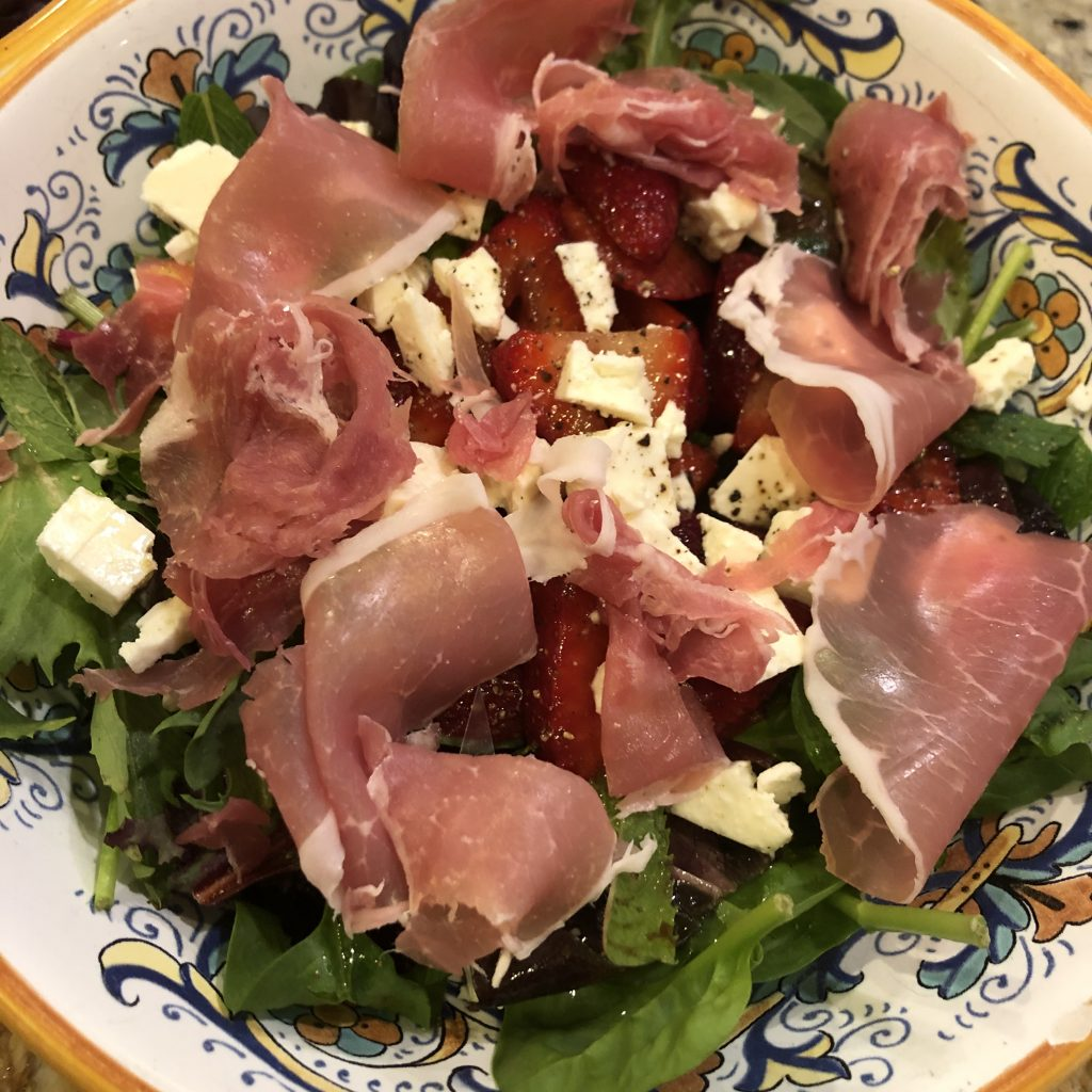 Strawberry salad with prosciutto
