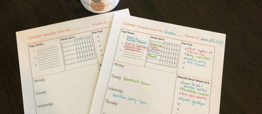 Summer Printable Planner for Tweens and Teens