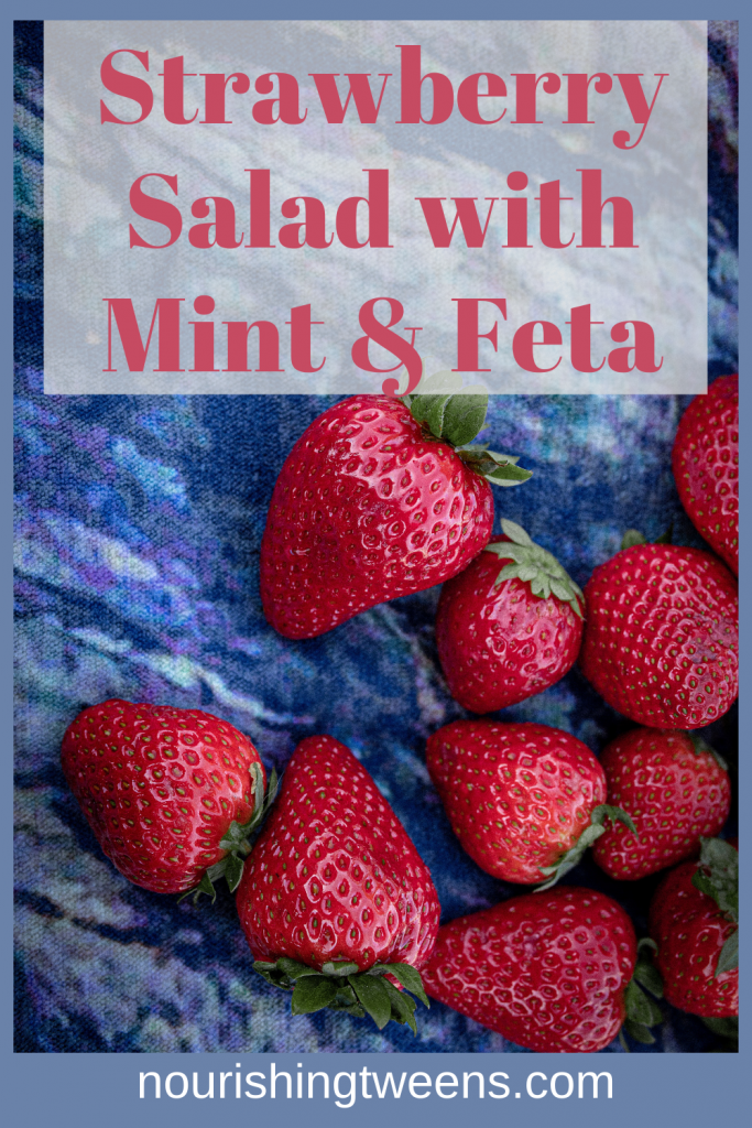 Strawberry salad with mint and feta
